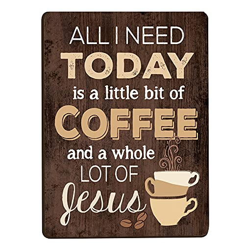 All I Need Is Coffee & Jesus Distressed Wood Look 2.5 x 3.5 Inch Wood Lithograph Magnet