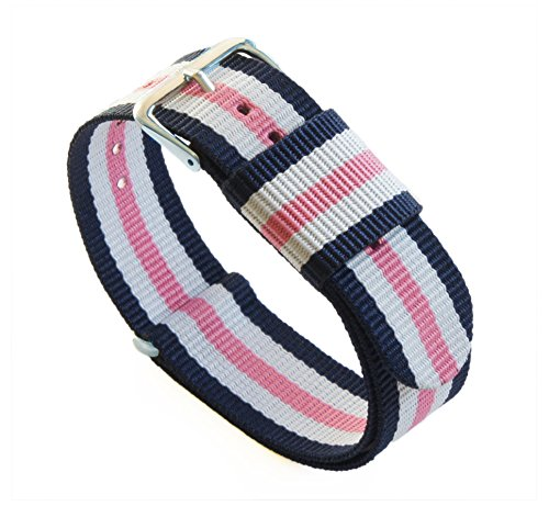 BARTON Watch Bands - Choice of Color, Length & Width (18mm, 20mm, 22mm or 24mm) - Navy/Pink/Ivory 18mm - Standard Length