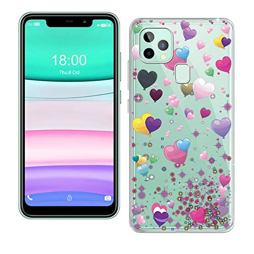 Phone Case for Oukitel C22 (5.86 Inch), KJYF Shockproof Shell Bumper for Oukitel C22, Anti-Scratch Clear Back Cover [Thin Slim X Anti-Yellowing] - Romantic Balloon