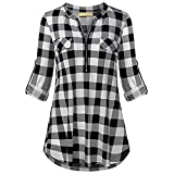 MENOW Fashion Women's Bell Sleeve Loose Polka Dot Shirt Ladies Casual Blouse Tops (S, Black)