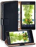 MoEx Funda Cartera [protección 360°] Compatible con Sony Xperia E5 | Cierre magnético, Noir