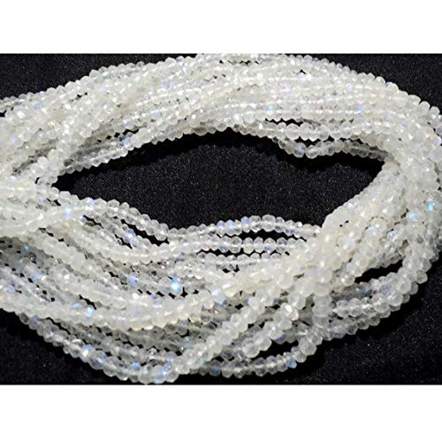 World Wide Gems Beads Gemstone 5 Strand Natural Rainbow Moonstone Beads, 4mm Faceted Beads, Microfaceted Beads, Rondelle Beads,14 Inch Code-HIGH-15940