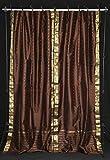 Indian Selections Cortinas con lazo en la parte superior de color marrón, 80 x 120 l, 2 unidades