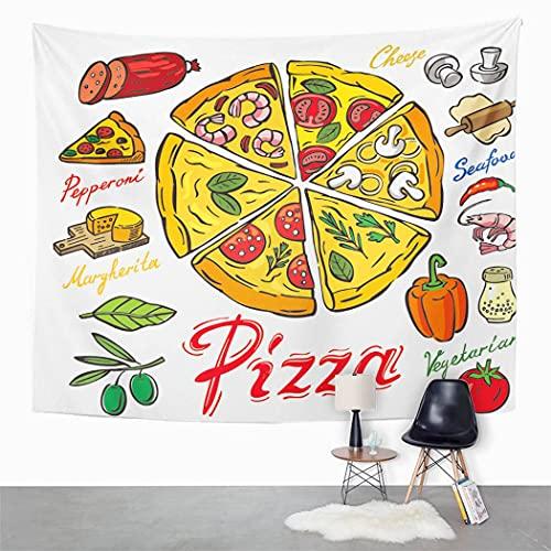 Y·JIANG Tapiz de comida colorido, peperoni Pizza Art Albahaca, pan, queso, dormitorio del hogar, tapiz grande decorativo de pared, manta para colgar en la sala de estar, dormitorio, 80 x 60 pulgadas
