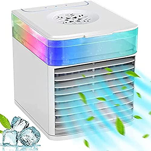 YANRU Ventilador PequeñO - Humidifica Climatizador Evaporativo - Utilice Solo Agua Limpia Acondicionador De Aire, para La Oficina De Viajes Familiares