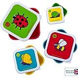 TUM TUM Anidando ollas de merienda para niños, cajas de aperitivos para niños, juego de cajas de aperitivos para niños, BPA gratis (Bugs)