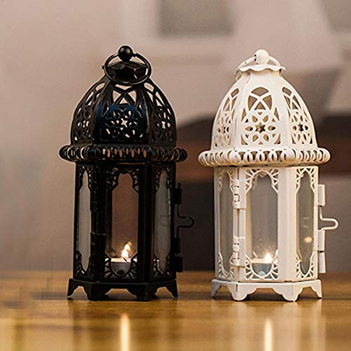 NMKL Lamp IJzeren Glas Kandelaar Lantaarn Marokkaanse Stijl Kaars Lantaarn Transparant Glas Zwart Wit Kleuren Optioneel