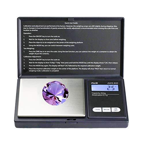 Balance de poche, Balance de Bijoux balance numérique de précision 500 g/0,01 g, balance digitale, pèse-lettre, balance or, balance pièces, avec écran LCD rétro-éclairé et fonction tare