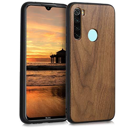 kwmobile Cover Compatibile con Xiaomi Redmi Note 8 (2019 2021) - Custodia Rigida in Legno con Bumper in Silicone TPU - Cover Smartphone - Marrone Scuro