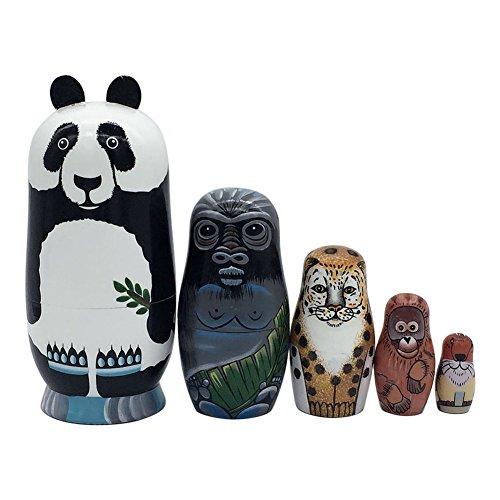 Cutogain 5 Schichten Verschachtelung Puppen Holz Panda Pinguin Bär Mädchen Delphin handbemalte Russische Puppe Matroschka Spielzeug Wohnkultur Kind Geschenk