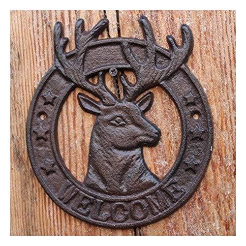Welkom-bord, Vintage Omcirkelde Rendier Met Welkomborden Cast Iron Home Garden Decor Van De Muur Plaques Plate