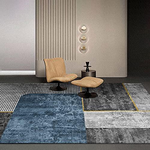 AU-OZNER bureautapijt Grijze en blauwe tapijten, rechthoekige patronen zijn gemakkelijk te maken vacuüm-proof anti-vervuiling gemakkelijk onderhoud tapijt woonkamer tapijten -grijs_160x230cm