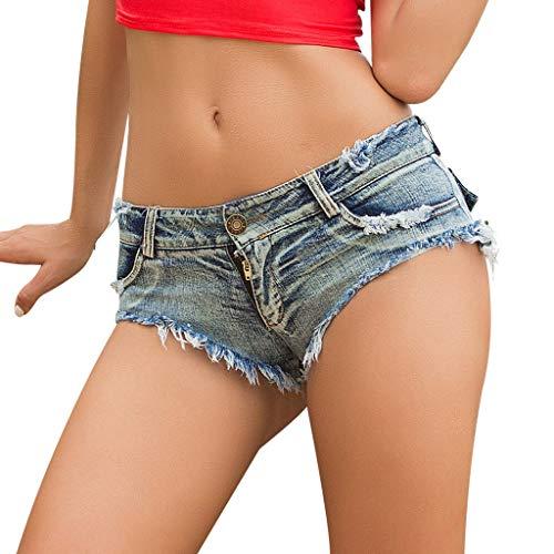 Gusspower Pantalones Cortos para Mujer Sexy Mini Shorts Mujer Rotos Vaqueros Mujer Cintura Baja Mini Verano Jeans para Mujeres Deporte Elástico Pantalones de Mezclillade Mujer Club Nocturno