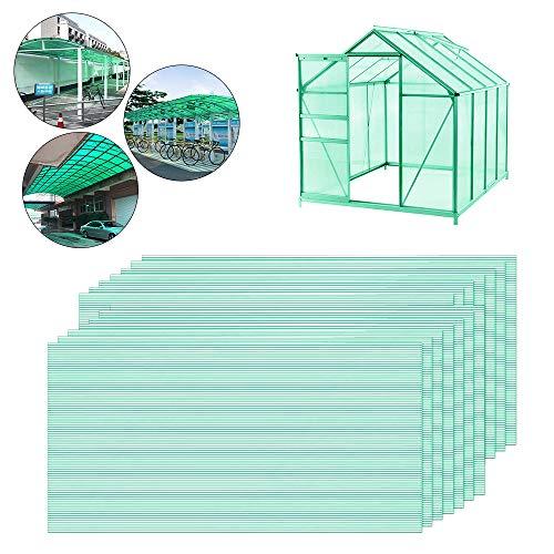 Ouhigher 14 Pcs Hohlkammerplatten Hohlkammerstegplatten Doppelstegplatten Grün transparente Polykarbonat Platten 4 mm stark 60,5 x 121 cm Ersatzteile für Garten Treibhaus Ersatzplatten 10,25 m²