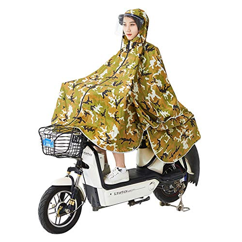 GX - Chubasquero para colgar con cadena de camuflaje y desarmar con giro, máscara de cara grande, transparente y elegante, para bicicleta eléctrica, apto para ciclismo, caminar, senderismo, bicicletas