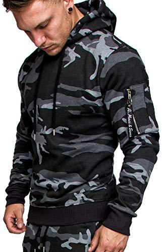 Amaci&Sons Herren Cargo-Style Pullover Sweatshirt Hoodie Sweater Camouflage 4003 Camouflage Schwarz L