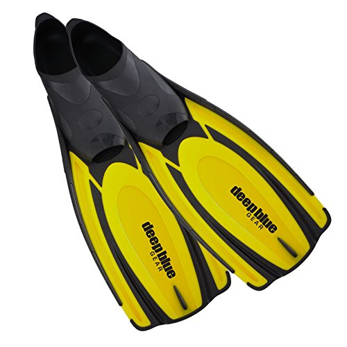 Deep Blue Gear Latitude 2 Fins for Diving, Snorkeling, and Swim, Adult Size 3-4 (Men's 4-6, Women's 5-6.5), Yellow