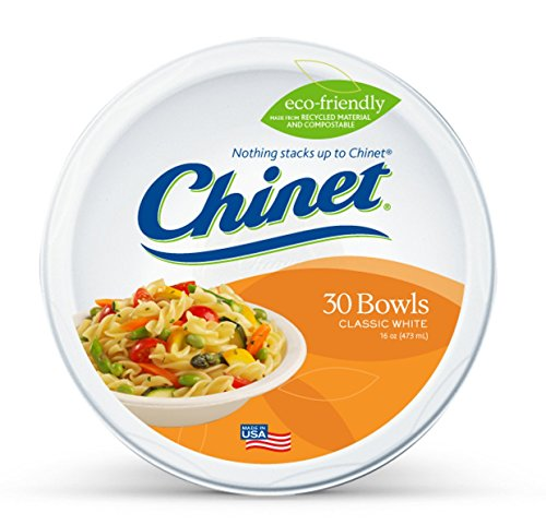 Chinet Classic White 16oz Large Bowls, 30 Count