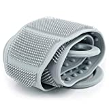 BAIMEI Silicone Back Scrubber for Shower, Handle Body Washer, Exfoliating Texture Scrubbing Pad (Grey)