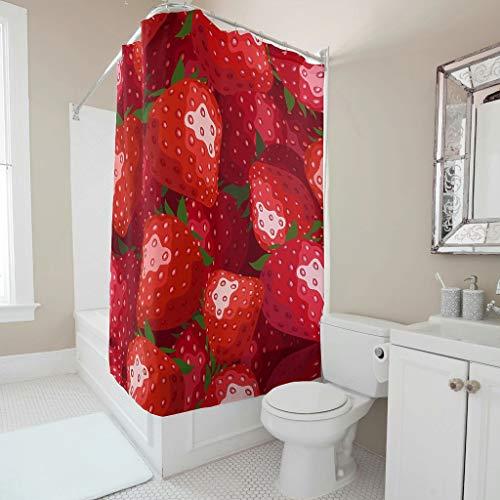 Gamoii Rote Erdbeere Früchte Duschvorhang Bad Gardinen Mode Badewanne Gardinen Badezimmer Decor Badvorhang mit Haken White 200x200cm