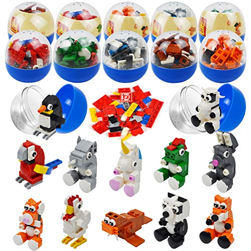 JOYIN 12 Pcs Easter Eggs Prefilled with Adorable Animal Building Blocks for Easter Party Favors, Easter Eggs Hunt, Easter Basket Stuffers, Classroom Prize Supplies
