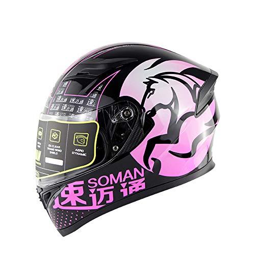 Evin Vollgesichtsmotorrad Motorradsturzhelm DOT-zertifizierter Rennradmotorradhelm Cromwell-Helm Jet-Doppelspiegel-Modular-Flip-Helm (M, L, XL, XXL),Pink,M