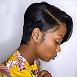 Short Pixie Cut Bob Wig, Straight Human Hair 150% Density Glueless Lace Front Bob Wigs VIPbeauty 13X6x1 Lace Frontal Wig for Black Women Pre Plucked With Babyhair Natural Hairline ( 6 Inch)
