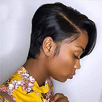 Short Pixie Cut Bob Wig Straight Human Hair 150% Density Glueless Lace Front Bob Wigs VIPbeauty 13X6x1 Lace Frontal Wig for Black Women Pre Plucked With Babyhair Natural Hairline   6 Inch