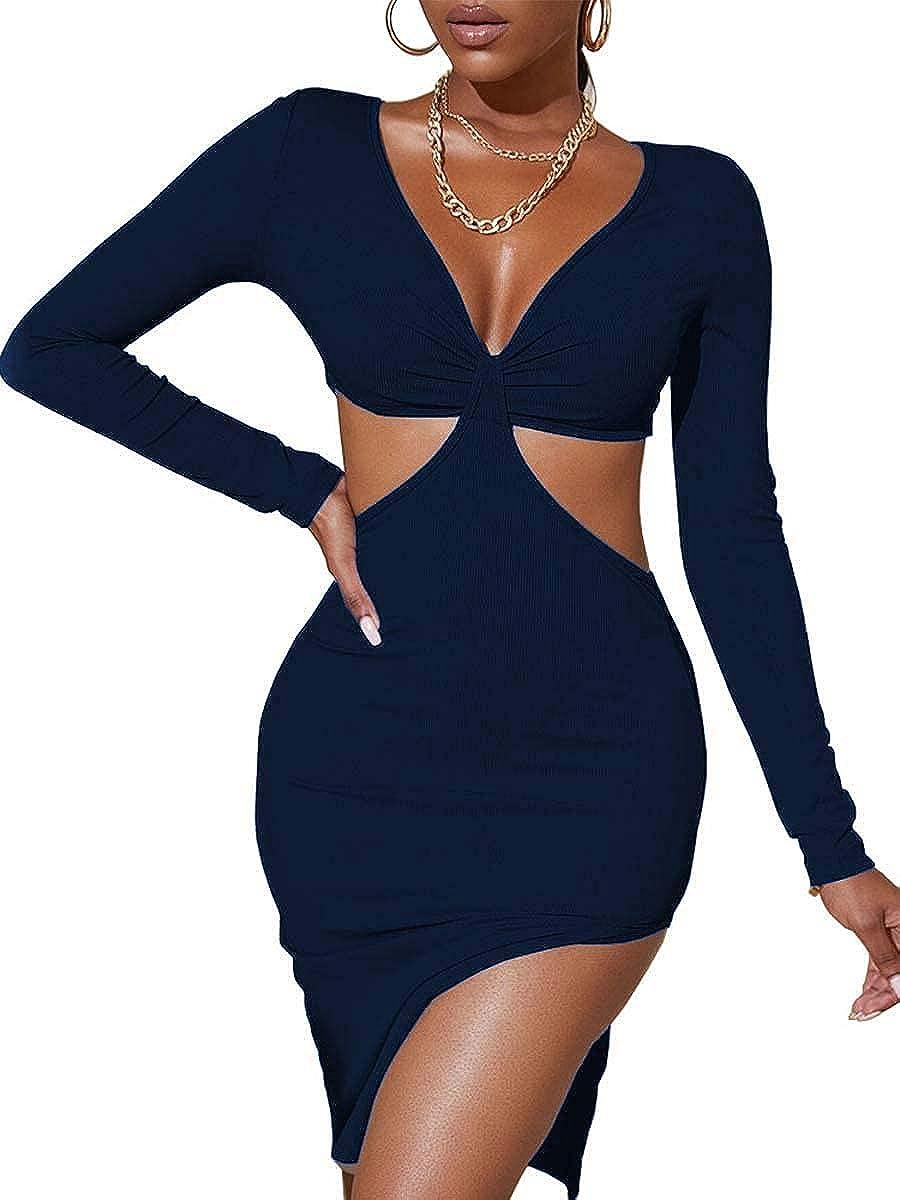 MOPOOGOSS Women's Sexy V Neck Ribbed Cutout Long Sleeve Side Split Bodycon Midi Dresses Club Party Dress