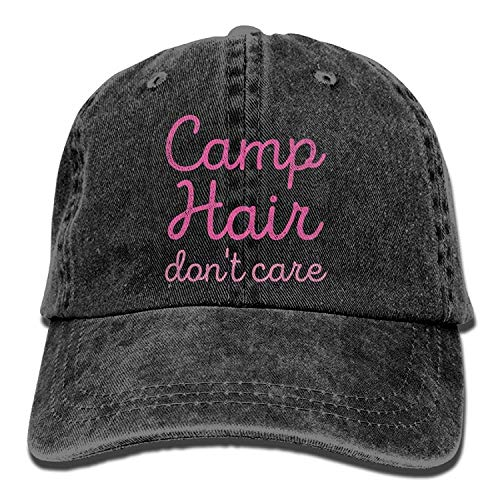 JIMSTRES Camp Hair Don't Care Denim Hat Adjustable Mens Plain Baseball Cap