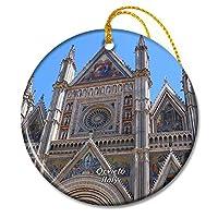 イタリア大聖堂オルヴィエートクリスマスオーナメントセラミックシート旅行お土産ギフト
