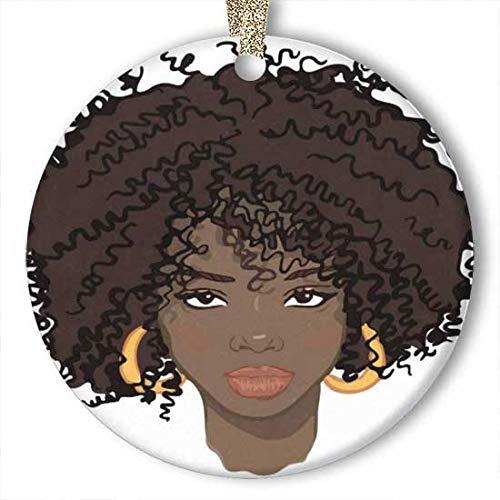 Belleza africana pendientes de adorno (redondo) de cerámica personalizada, para vacaciones, Navidad, ideas 2019