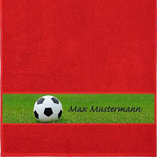 Manutextur Handtuch mit Namen - personalisiert - Motiv Sport - Fußball - viele Farben & Motive - Dusch-Handtuch - rot - Größe 50x100 cm - persönliches Geschenk mit Wunsch-Motiv und Wunsch-Name