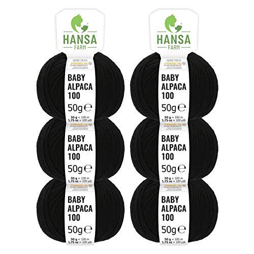 HANSA-FARM 100% Lana di Alpaca in più di 50 Colori (Non Punge), Set da 300g (6 x 50g), Lana di Baby Alpaca Morbida per Maglieria e Uncinetto in 6 spessori di Filato Gomitoli Lana Nero