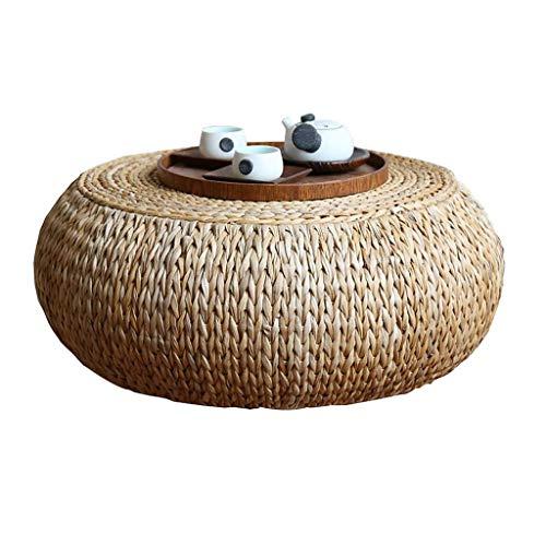 Couchtische Antique Tea Tami Reiner handgemachter Gartenmöbel Bambus und Rattan Computer Runde Low Kleines Pucao Massivholz (Color : Khaki, Size : 60 * 60 * 25cm)