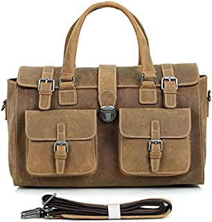 Men's Shoulder Bags Leather Bags Men's Bags Retro Crazy Horseskin Travel Bags Leather Handbags (Color : Brown, Size : L)