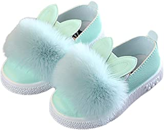 DishyKooker Baby Girl Cute Cartoon Rabbit Ear Pompom Shoes Soft Sole Leather Flat Shoes,Soft and Comfortable green 25