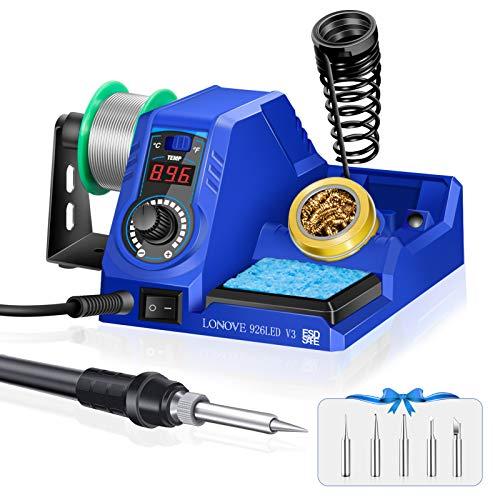 Soldering Iron Station Kit, LONOVE Soldering Station w/ 392℉~896℉ Adjustable Temperature (C/F),10-Min Sleep Mode, LED Display Digital Soldering Iron Kit, Fast Heating Up (Blue)