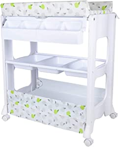CWJ Small Bed for Look After Baby Without Bending Over Diaper Changing Tables Infant Nappy with Unit Diaper Storage Station Organizer for 0-2 Years Olds Baby 50 Load Storage Desk