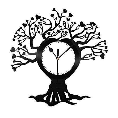 SKYTY Reloj De Pared De Vinilo De Árbol Genealógico-Reloj De Pared De Vinilo Retro con Registro De Regalo Fresco Decoración del Hogar-con Luz Led