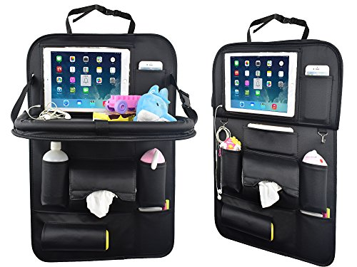 SUASI 1 Car Organizer Tray Baby PU Leather Foldable Dining Table Desk Back Seat Tablet Ipad Holder