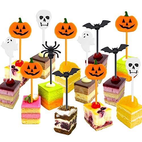 Palillos de Halloween de Plástico Topper de Magdalena de Halloween Adornos de Fantasma para Fiesta Temática Fiesta de Cumpleaños de Niños (50)
