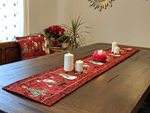 Tache Home Fashion Here Here Comes Santa Claus Antique Vintage Christmas Eve Traditional Holiday Season Red Decorative Woven Tapestry Table Runners, 13x54,