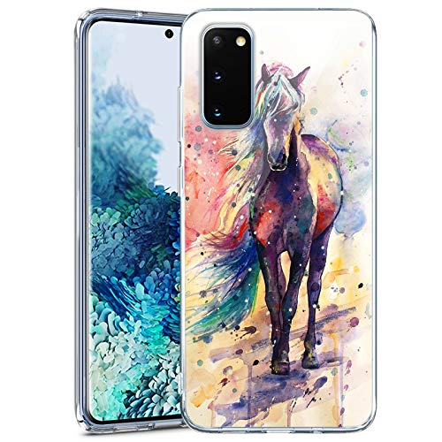Samsung Galaxy S20 FE 5G Case Clear with Design Soft Transparent TPU Protective Shockproof Case for Samsung Galaxy S20 FE 5G Watercolor Horse Pattern