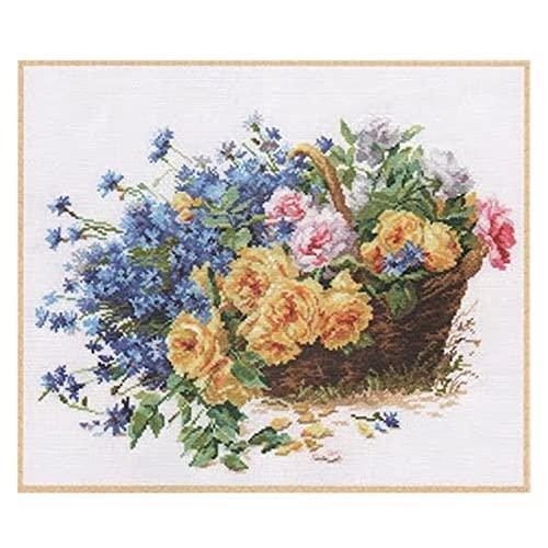 RJJX Goldkollektion gezählt Kreuzstich-Kit Gelbe Rosen-Rosen und Hortensie-Blumenkorb-Blumenstrauß Alisa-2-27 (Cross Stitch Fabric CT Number : 14CT unprint Canvas)