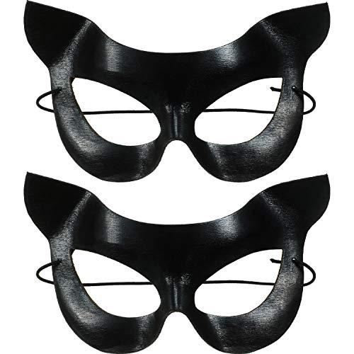 Damen Vinyl Katzenmaske Kostüm Zubehör, Katzen Auge Gesichtsmaske für Verkleidung Kostüm Halloween Party Ball Abschlussball Hochzeit Wand Dekoration, 2 Stücke