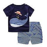 Sunenjoy Ensemble Bébé Garçon Filles T-Shirt Manche Courte Chemise Baleine Haut Tops + Rayé Short Pantalon Court Vêtements pour Enfant 2-7 Ans (18-24 Mois, Bleu)