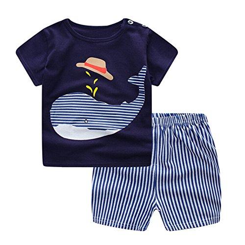 2018 Nuovi Vestiti per Bambini Set Cartoon Whale Print T Shirt Tops + Shorts Pantaloni 2 PC Newborn Outfits Vestiti Set per Baby -Calculator (0-6 Mesi, Blu)