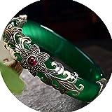 J.Memi's Pulsera Jade Verde Natural Plata De Ley 925 Piedras Preciosas Patrón Único Diseño Hecho A Mano Diseño Único Joyas Regalo,F