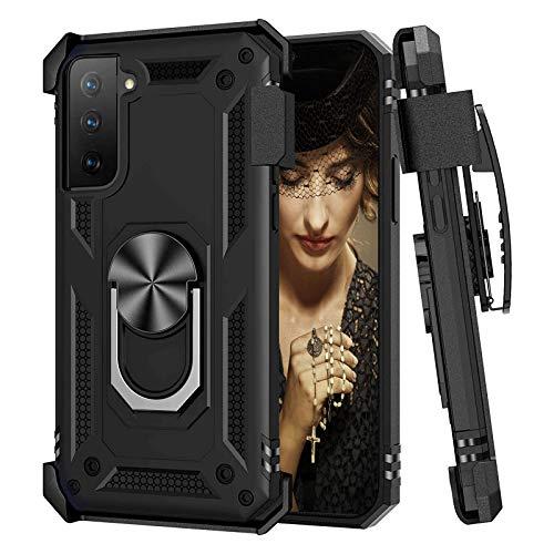 Lasvos Compatibile con Samsung Galaxy S21 5G, custodia protettiva, antiurto, resistente ai graffi con fondina a clip per cintura, protezione totale del corpo in qualità militare (1)